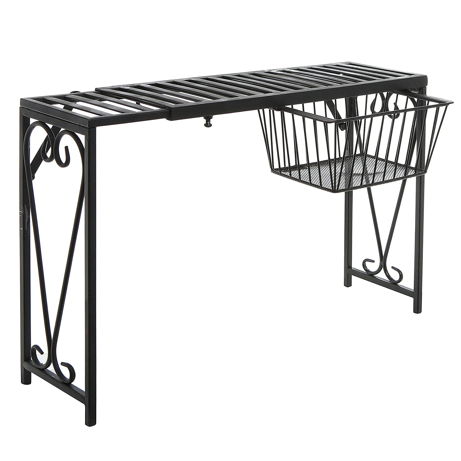 Black Metal Rack w/ Pull-Out Drawer