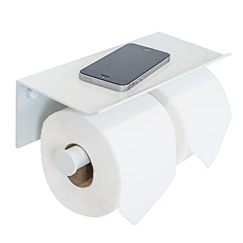 Amazoncom Double Roll Toilet Paper Holder With Phone Shelf