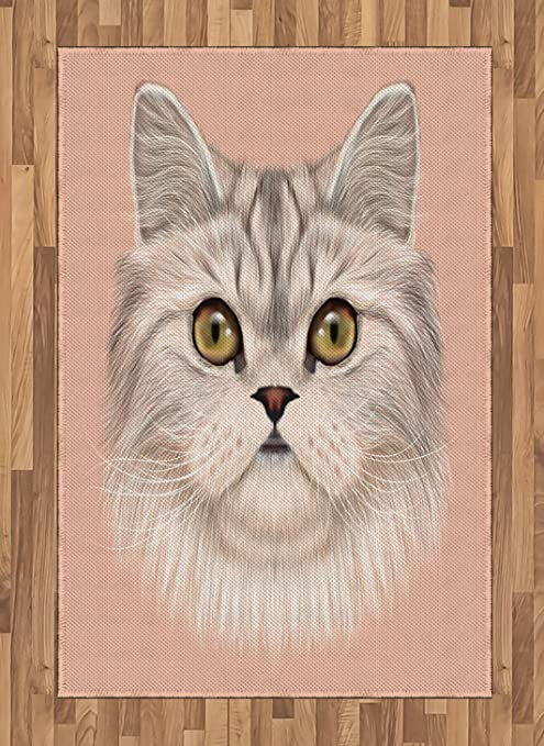 Lunarable Cat Area Rug Portrait Of Domestic Persian Cat With Whishers Siamese Character Furry Animal Paint Flat Woven Accent Rug For Living Room Bedroom Dining Room 4 X 5 7 Pink Beige