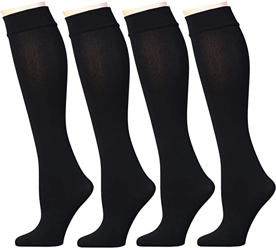 Womens Opaque Plush Fleece Lined Knee High Or Crew Socks Pack of 4 or 6