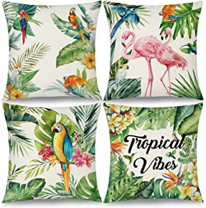 Binfemcy Summer Tropical Throw Pillow Covers Outdoor Flamingo Decorative Patio Furniture Pillows Green Leaf Flower Cushion Case for Patio Sofa, 18 x 18 Inch Set of 4