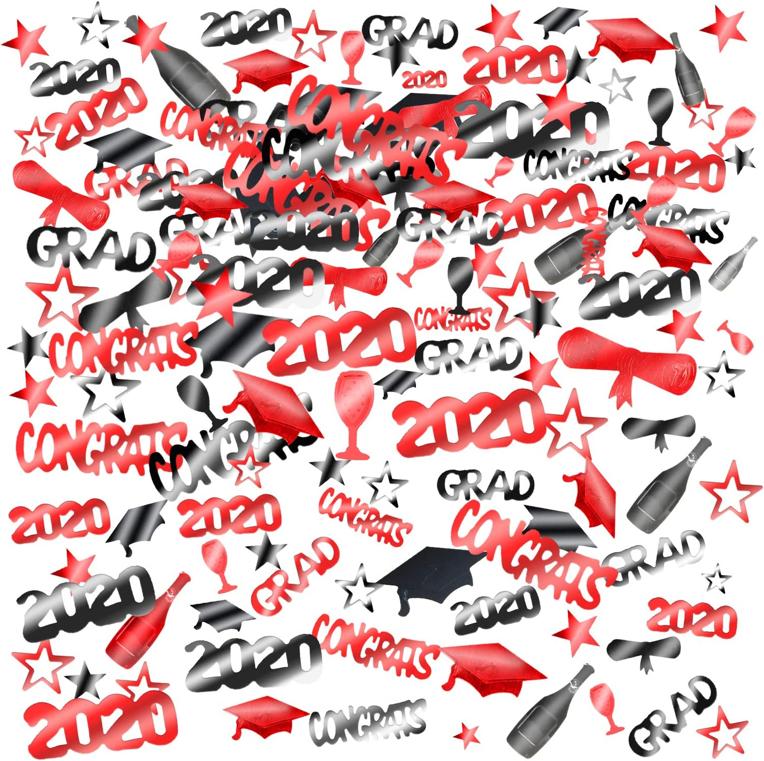 Konsait 2020 Graduation Confetti, Black Red Decor Graduation Party Supplies, 2 Oz/ 1500 Pieces, Graduation Table Decorations, Congrats, Stars, 2020, Cap, Goblet, Diploma Confetti