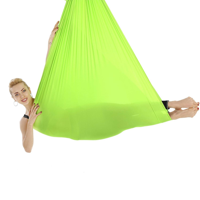 HYSENM ヨガハンモック エアリアルヨガ ハンモック単体 反重力 空中ヨガ 単品 耐荷重900kg 5X2.8m ヨガスリング エクササイズ ストレス解消 正規品 濃いグリーン