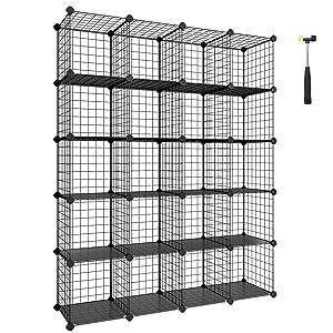 "SONGMICS Wire Cube Storage, 20-Cube Modular Rack, Storage Shelves, PP Plastic Shelf Liners Included, 48.4"" L x 12.2"" W x 60.2"" H Black ULPI45H"