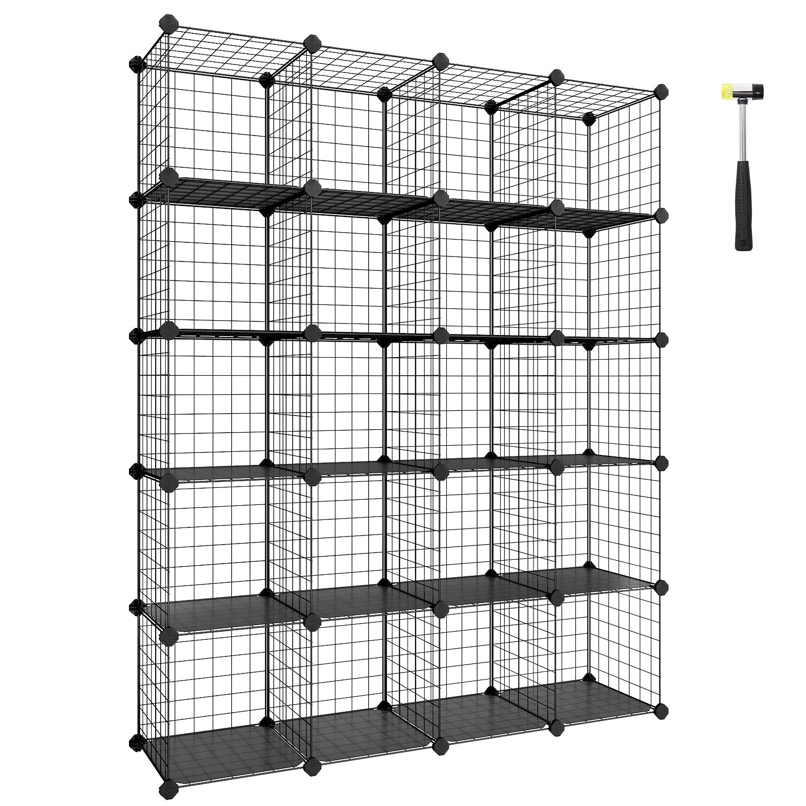 SONGMICS Wire Cube Storage, 20-Cube Modular Rack, Storage Shelves, PP Plastic Shelf Liners Included, 48.4'' L x 12.2'' W x 60.2'' H Black ULPI45H