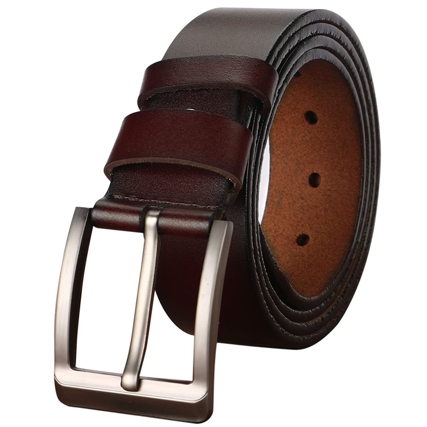 Men's belt, Gifny's Cowhide Genuine Leather Belt for Men 1 1/2 38mm Trim to Fit Men' s belt