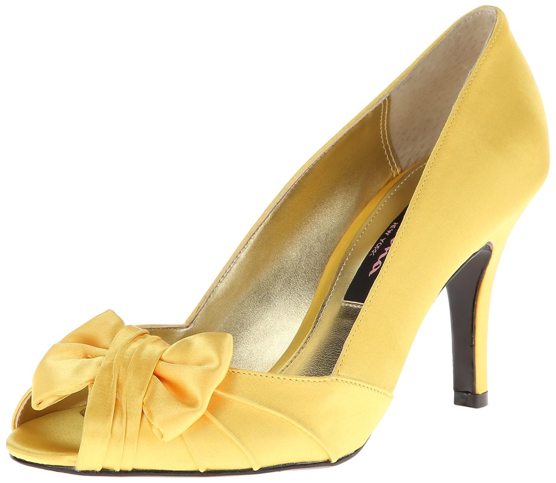 Nina Women's Forbes Satin Peep-Toe Pump B00590EOSU 5.5 B(M) US|Canary Satin