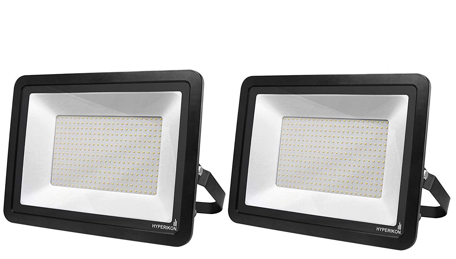 Hyperikon 300W LED Flood Light Outdoor, 110V Waterproof IP65 Floodlights LED, 24000 Lumen, 180° Rotatable Bracket, Suitable for Dry and Damp Locations, 5000K (2-Pack)