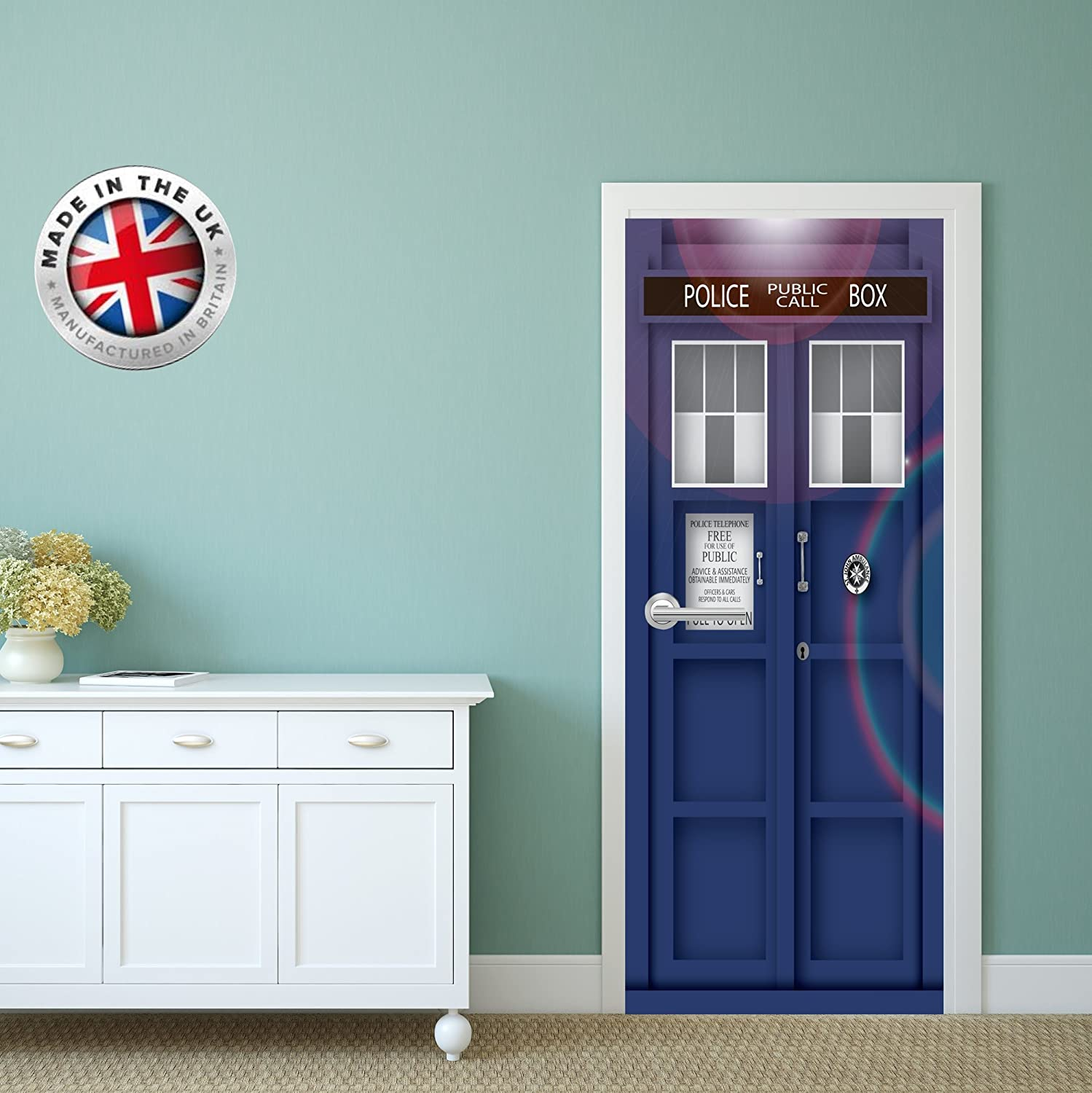 christa prints DS5 DOOR FRIDGE CUBOARD SKIN COVER TARDIS DR WHO STICKER WRAP SCENERY VIEW MURAL