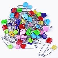 60pcs Multicolor Alfileres de Seguridad con Cabezales Plasticos