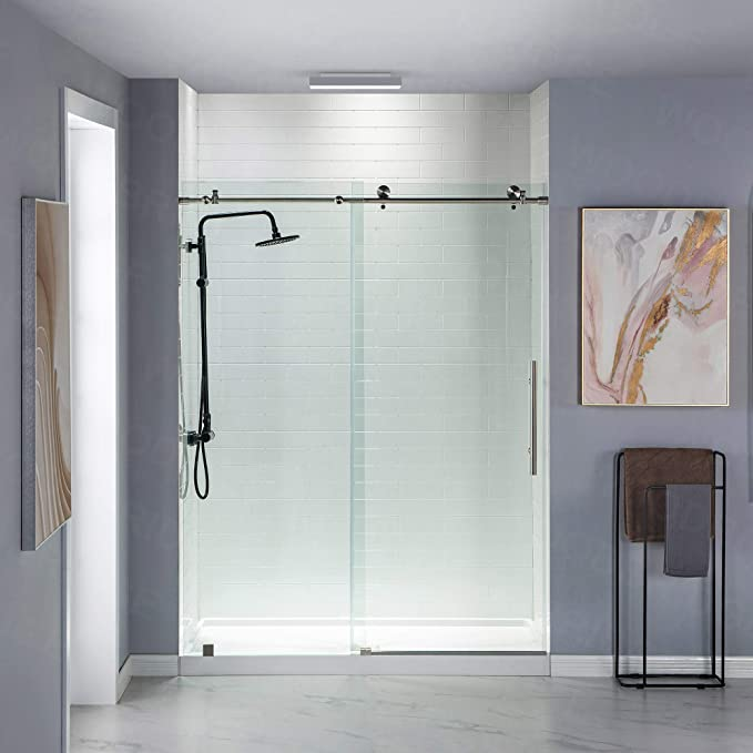 Woodbridge Frameless Sliding Shower Door 44 48 Width 76 Height 3 8 10 Mm Clear Tempered Glass Brushed Stainless Steel Finish Designed For Smooth Door Closing Mbsdc4876 B Amazon Com