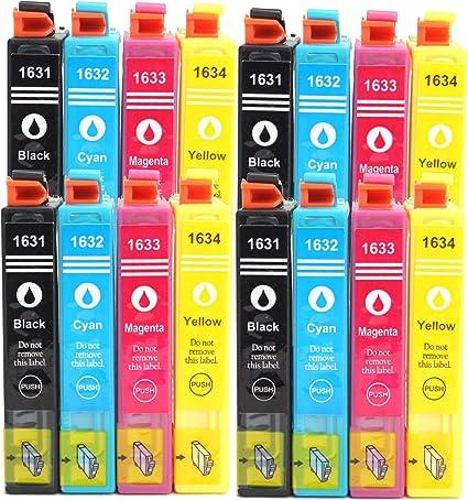 Premium 16er Pack – Cartuchos de Tinta para Epson (T1636 XL) T1631 X L BK, 1632 X L C, 1633 X L, 1634 X L Magenta, con chip compatible: Amazon.es: Oficina y papelería