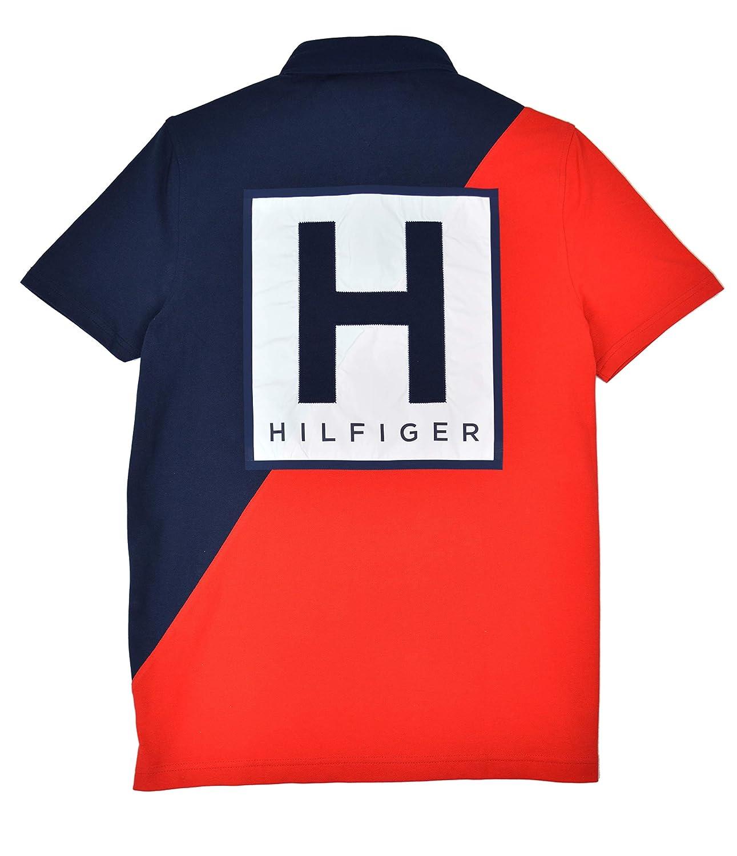 Tommy Hilfiger TH85 Mens Diagonal Colorblock Cotton Mesh Pique Polo Shirt Navy Blue Red
