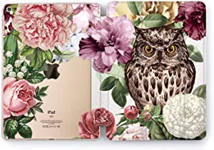 Wonder Wild Case Compatible with Apple iPad Owl Flowers 9.7 Pro inch Mini 1 2 3 4 Air 2 10.5 12.9 11 10.2 5th 6th Gen Hard Cover Bird Night Watcher Beautiful Floral Pattern Bloom Peonies Rose