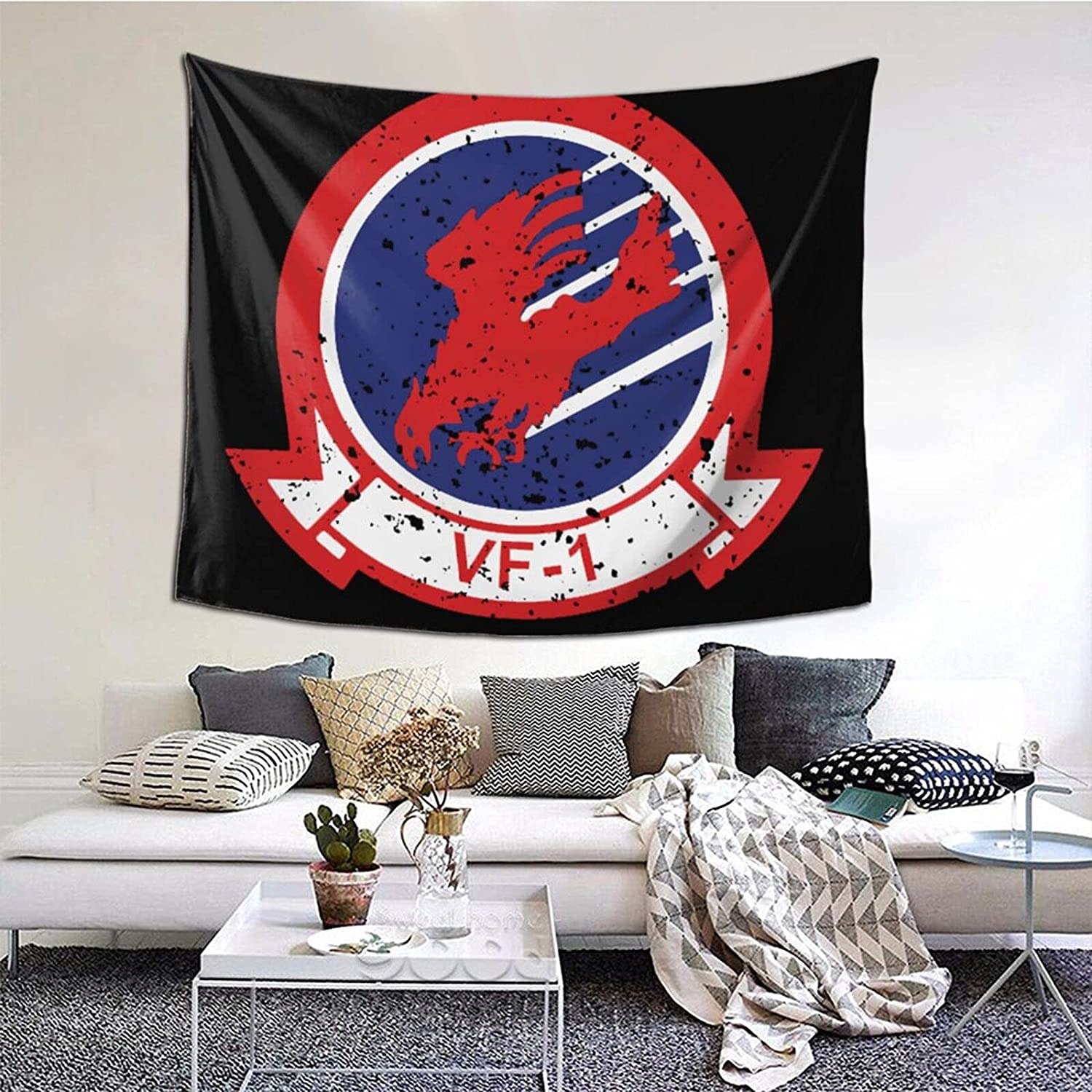 Classic Top Gun Vf-1 Tapestries With Art Nature Home Stylish Wall Hangings Tapestry Bedroom Party Decor (60 X 51 Inch)
