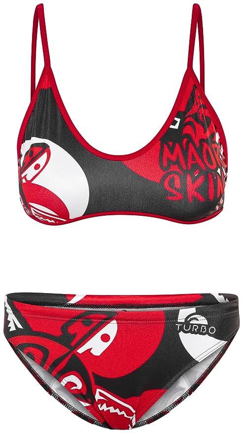 Turbo Maori Skin Tatoo - Bañadores Mujer - Rojo/Negro Talla M | US 32