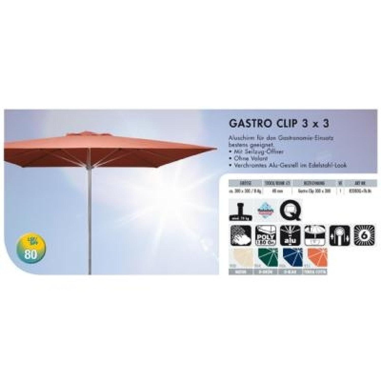 Amazon.de: GASTRO CLIP 3x3 Meter Sonnenschirm Alu-Schirm eckig ...