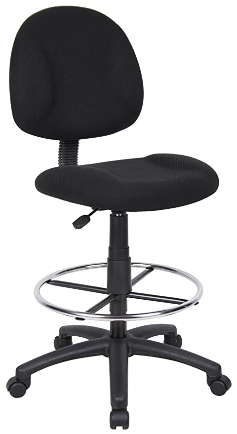 Boss Office Products B1615 BK Ergonomic Works Drafting Chair Without Arms  In Black