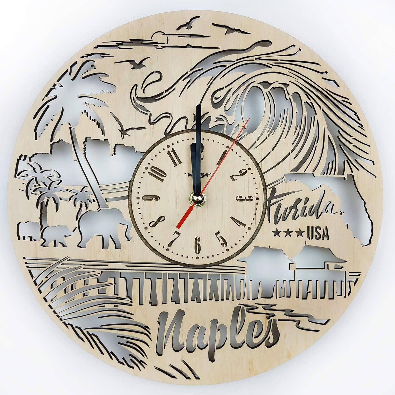 ShareArt Florida Naples Silent Wood Wall Clock - Original Home Decor for Office Room Bedroom Kitchen - Best Gift Idea for Friends Business Partner Men Woman - Unique Wall Art Design - Size 12 Inch
