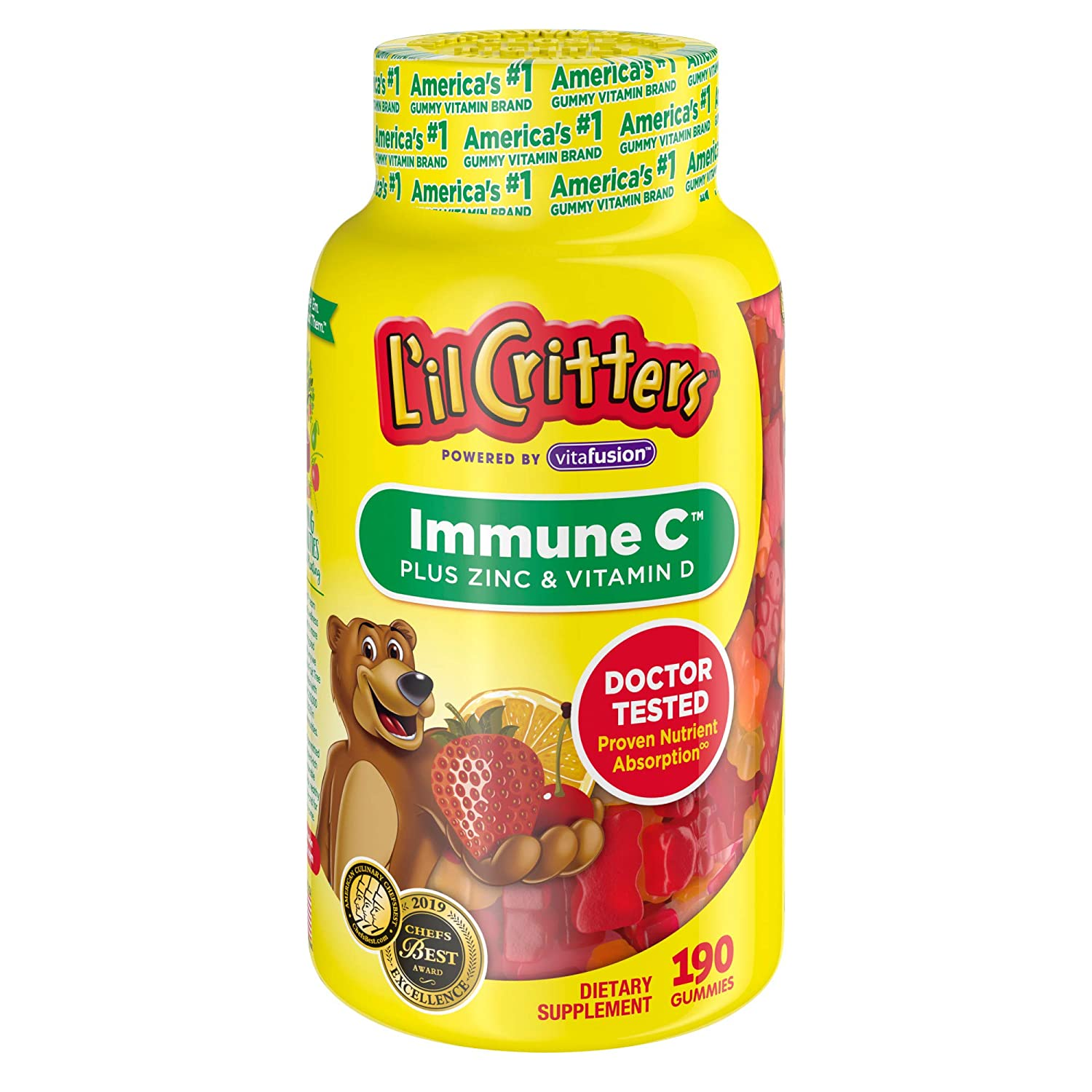 Lil Critters Immune C Plus Zinc & Vitamin D, 190Count (Packaging May Vary)