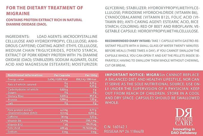 Migrasin - Tratamiento migraña causada por déficit de DAO - 60 Cápsulas con Pellets Gastrorresistentes