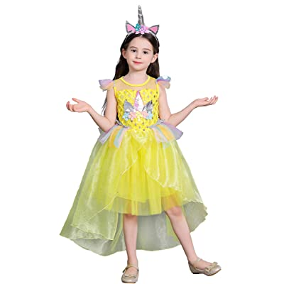 Dressy Daisy Girls Unicorn Dress Up Costume Princess Dresses with Train: Clothing