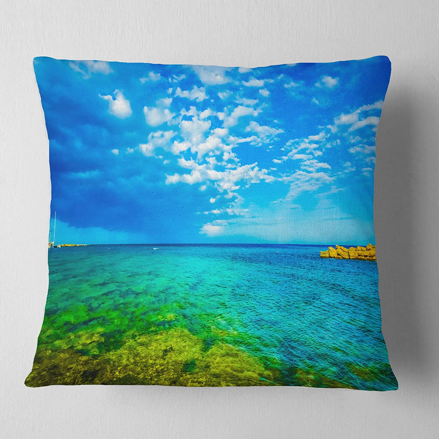 Designart CU11459-26-26 Picturesque Green Blue Seashore' Modern Seascape Throw Cushion Pillow Cover for Living Room, Sofa, 26 in. x 26 in, Pillow Insert + Cushion Cover Printed on Both Side