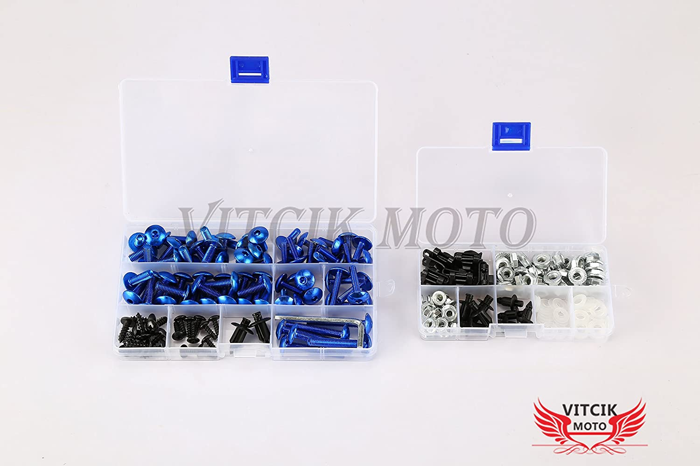 Black /& Silver VITCIK Full Fairings Bolt Screw Kits for Kawasaki ZX6R ZX-6R Ninja 636 1998 1999 98 99 Motorcycle Fastener CNC Aluminium Clips