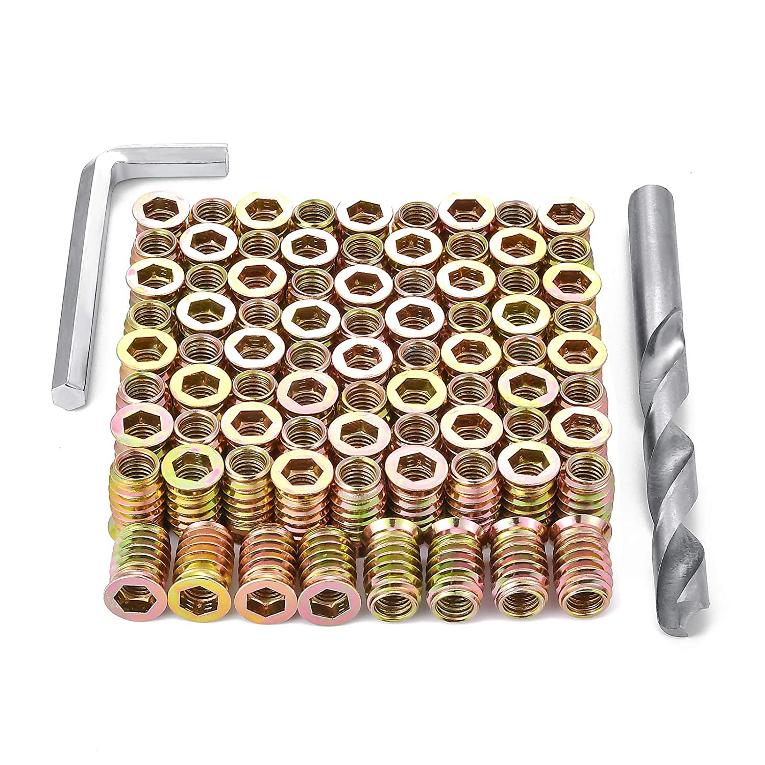 PGMJ 80 Pieces M8 Wood Inserts Bolt Furniture Screw in Nut Threaded Fastener Connector Hex Socket Drive for Wood Furniture Assortment (M8x20mm)