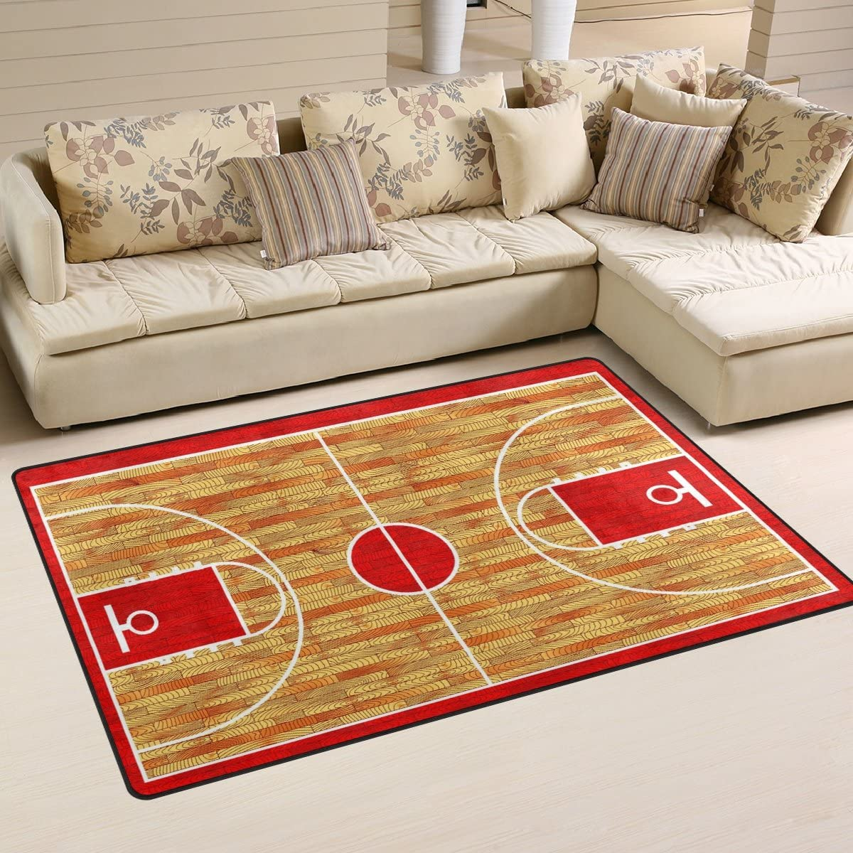 WOZO Hardwood Basketball Court Area Rug Rugs Non-Slip Floor Mat Doormats Living Dining Room Bedroom Dorm 60 x 39 inches inches Home Decor