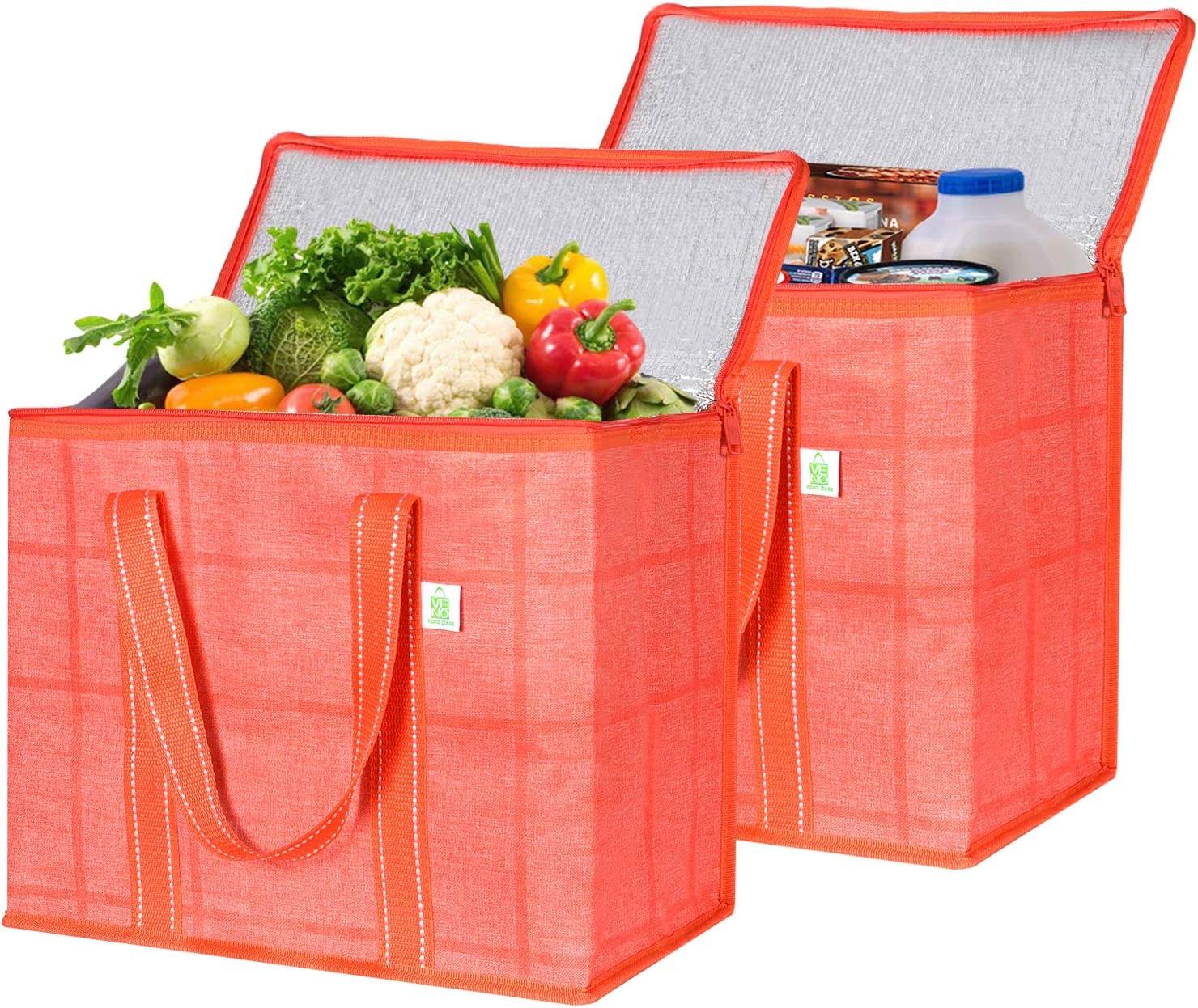 2 Pack Insulated Reusable Grocery Bag With Cardboard Bottom by VENO, Durable, Heavy Duty, Large Size, Stands Upright, Collapsible, Sturdy Zipper, Recycled Material, Eco-Friendly (Orangered/Windowpane)