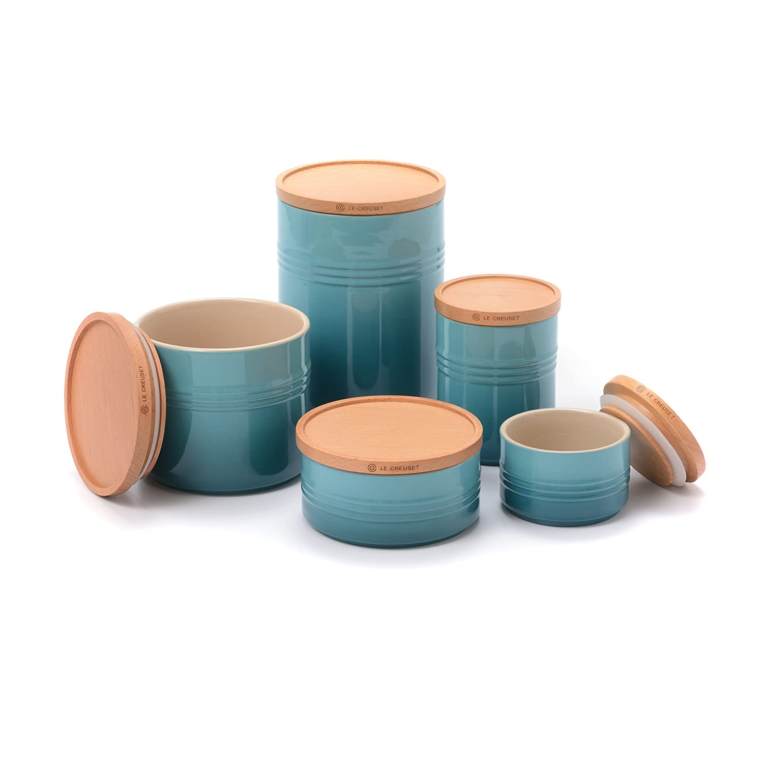 Amazon.com: Le Creuset Caribbean Stoneware 5 Piece Canister with ...