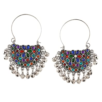 33159ed44 Buy Zephyrr Jewellery Oxidized Silver Beaded Chandbali Hoop Earrings.  Online at Low Prices in India | Amazon Jewellery Store - Amazon.in