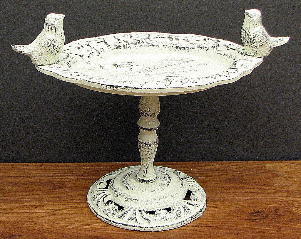 Cast Iron Antiqued White Bird Bath Feeder Home Garden Decor