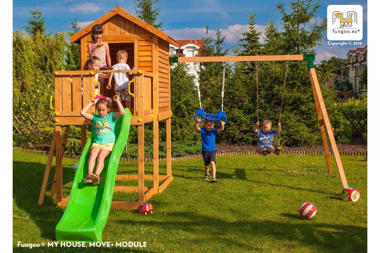 Fungoo ® My House Move+ Spielturm Set mit Rutsche und Schaukel Farbe blaue Rutsche