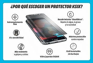 Ksix B8575SC07N - Protector de pantalla de vidrio templado para Samsung Galaxy S7, color negro: Amazon.es: Electrónica