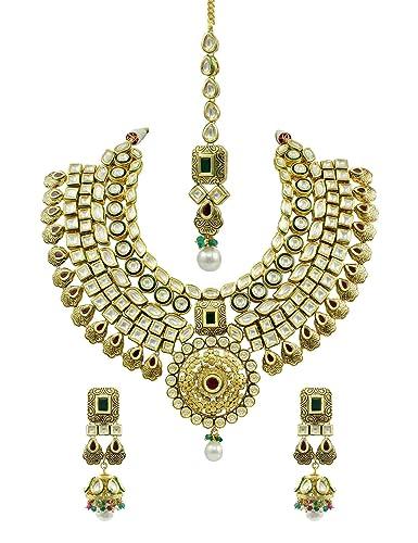 594c9fec1470a Buy Bridal Red Green Vilandi Kundan Necklace Set Jewellery for Women ...