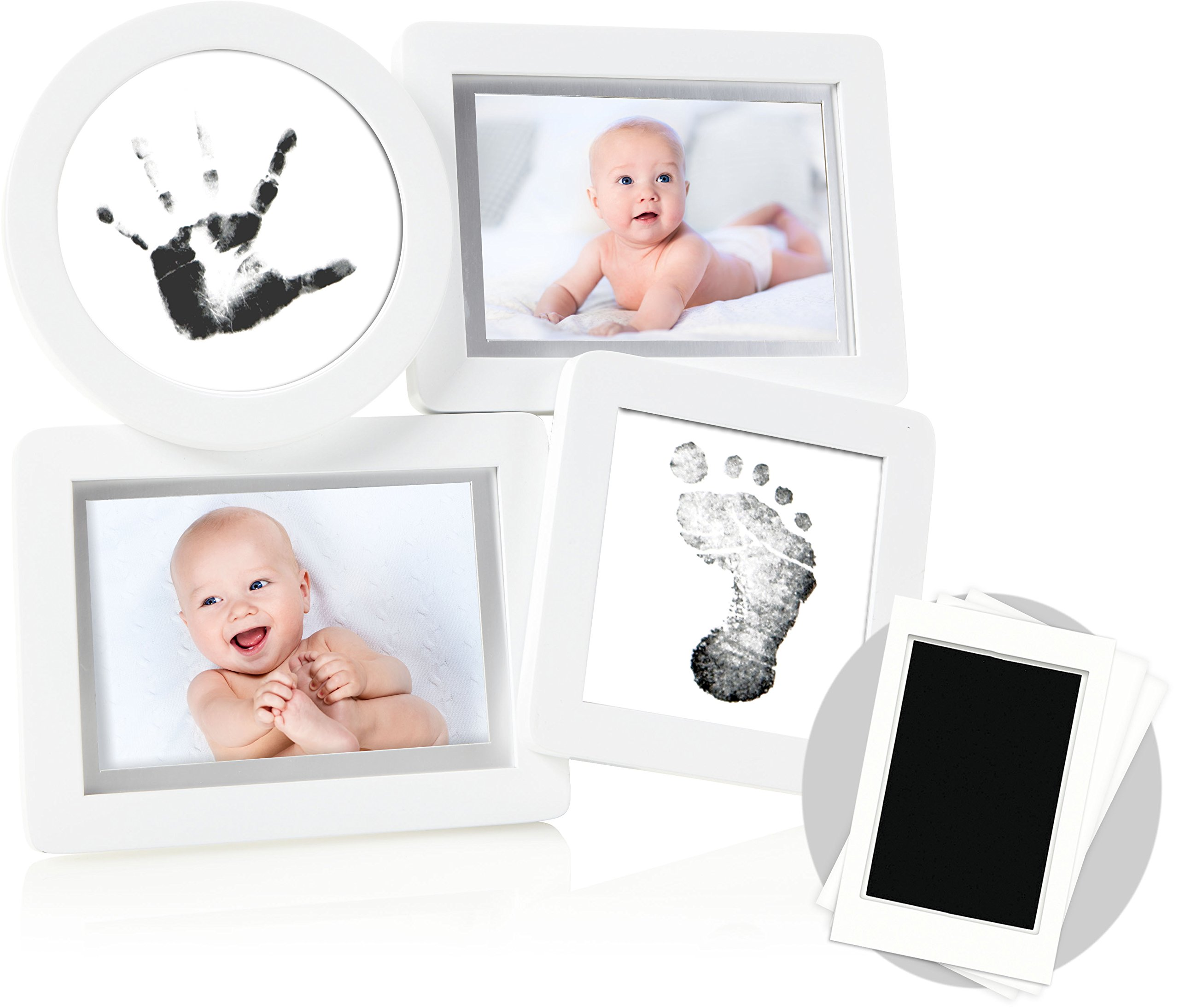 Pearhead Babyprints Newborn Collage Frame with''Clean-Touch'' Ink Pad Included, Newborn Baby Registry Must Haves, White