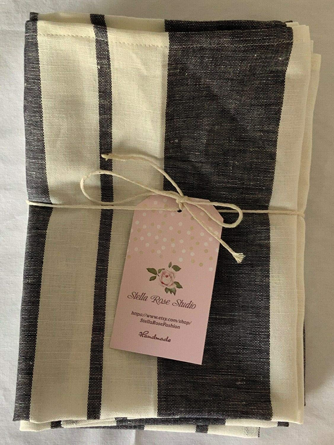 NEW COTTON LINEN BLEND DINNER NAPKINS SET of 4 HANDMADE 21X17 FARMHOUSE LOOK GRAY /& WHITE COTTAGE STRIPES