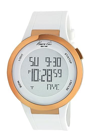 Kenneth Cole TOUCH SCREEN - Reloj digital de mujer de cuarzo con correa de piel blanca - sumergible a 100 metros: Kenneth Cole: Amazon.es: Relojes
