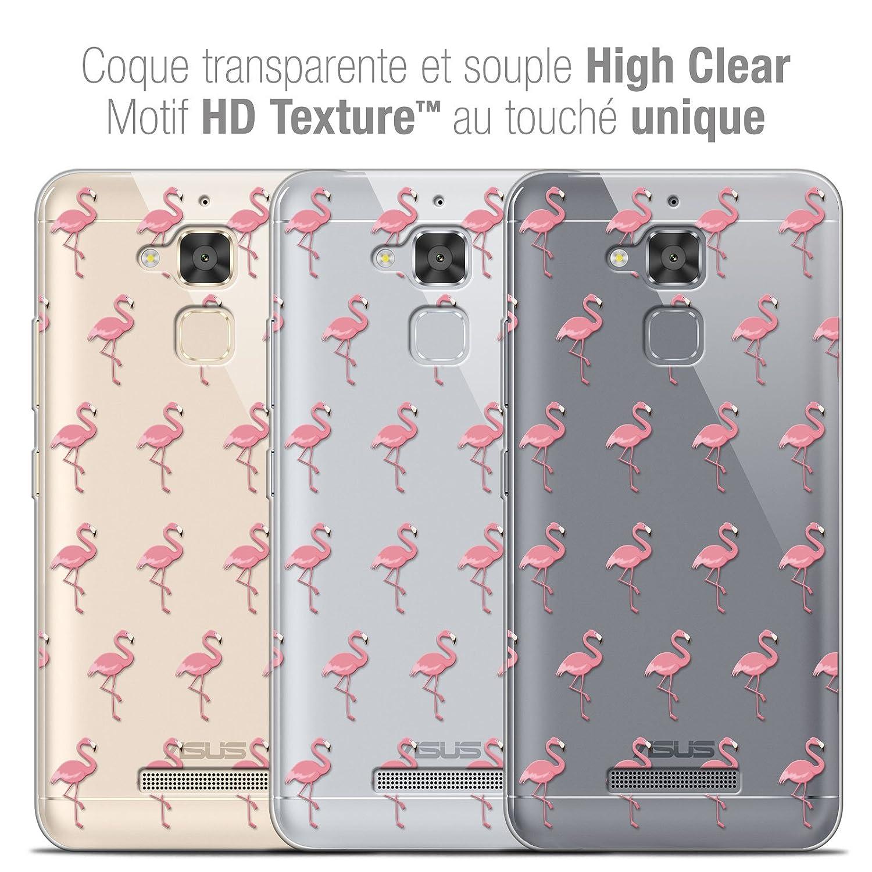 Caseink Coque Housse Etui pour ASUS Zenfone 3 Max ZC520TL 5.2 Crystal Gel Motif HD Collection Pattern Design Les Flamants Roses - Souple - Ultra Fin - Imprim/é en France