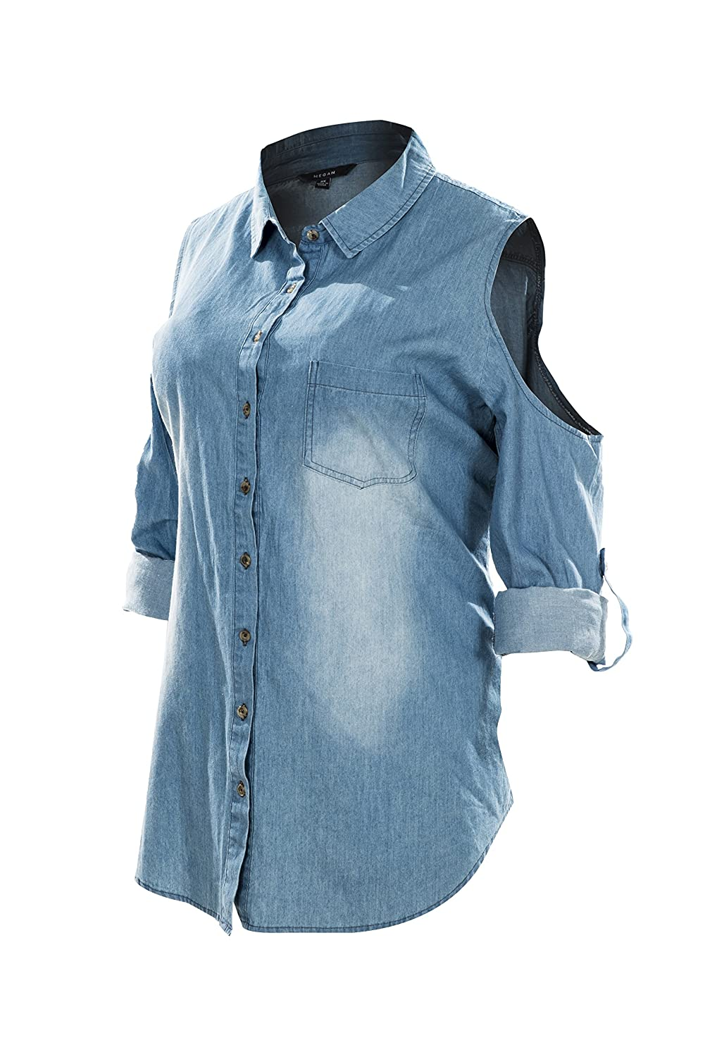 Megan apparel Women's Cut Out Shoulder Roll up Long Sleeve Washed Denim Shirts Plus Size MT1004