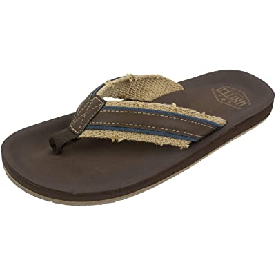 UNITED SUPPLY CO. Men's Flip Flop Sandal, Classic Casual and Comfortable, Arch Support, Frayed Webbing, Brown Navy, Size Large / 10 to 11 | Sandals