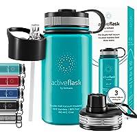 Drinkfles RVS Thermosfles ACTIVE FLASK + Strohalm (3 Drinkdoppen), BPA-Vrij + Lekvrij | 1 Liter/500 ml Isoleerfles…