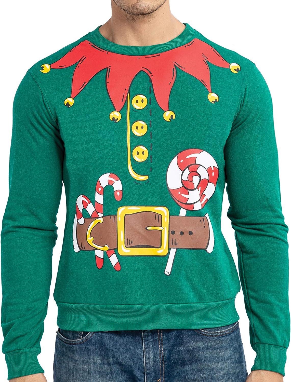 JOYIN Christmas Mens Santa's Elf Ugly Sweater for Xmas Holiday Costume or Birthday Gift