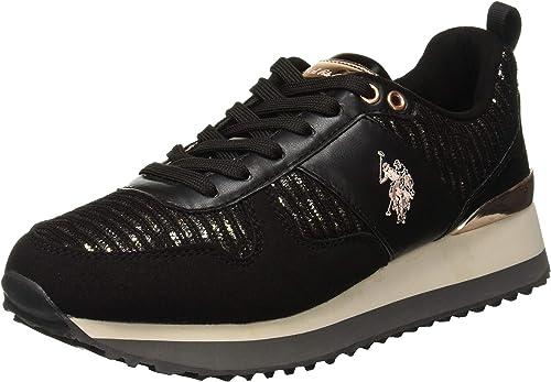 U.S.POLO ASSN. Damen Tabitha1 Lurex Sneaker, Schwarz: Amazon
