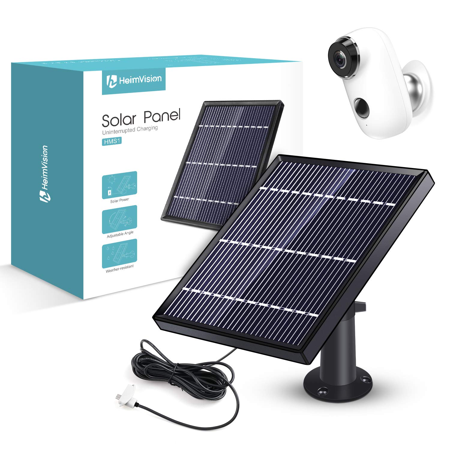 Solar Panel Compatible with HeimVision HMD2 Rechargeable Battery Security Camera, Waterproof 3.2W/ 5.5V Solar Panel with 13ft/ 4m USB Cable, Support Continuously Supply Power for Security Camera by heimvision