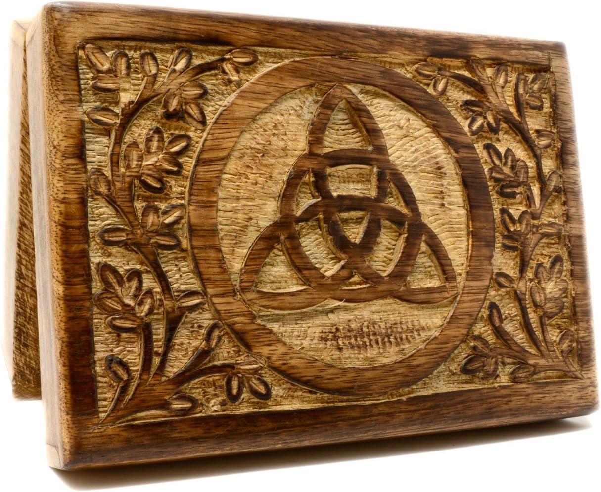 Caja de madera maciza triquetra para cartas del tarot, 18 x 13 cm ...