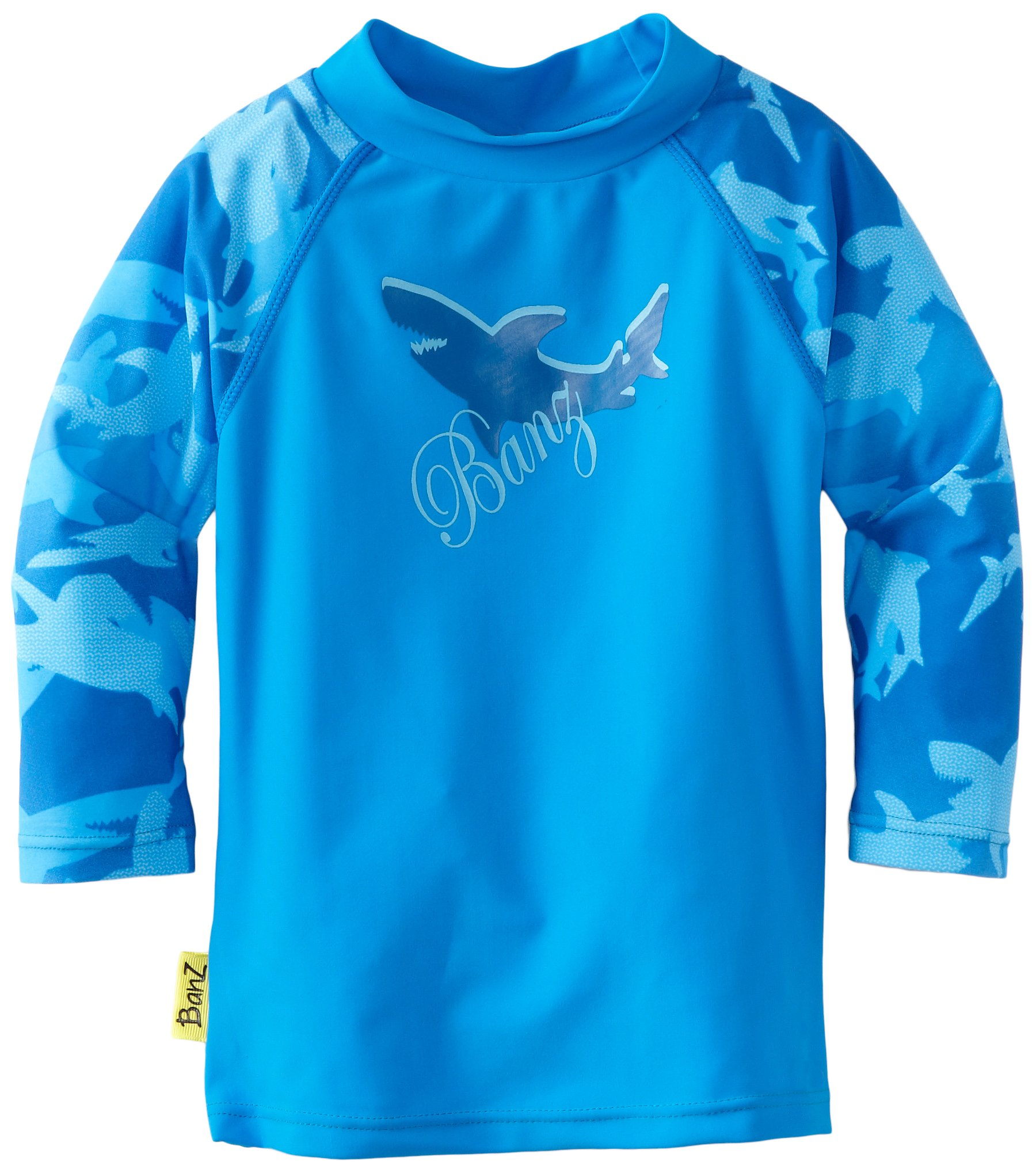 Baby Banz Boys Long Sleeve Loose Fit Rash Top, Fin Frenzy Blue, 6-12 Months by Baby Banz