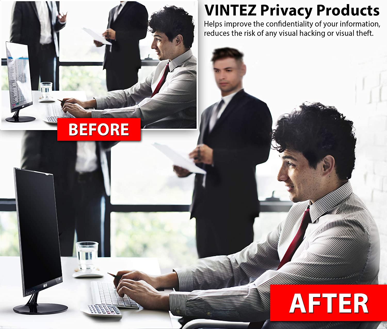 We Offer 2 Different 24 Filter Sizes Anti-Glare Anti-Scratch Protector Film for Data confidentiality VINTEZ 24 Inch Computer Privacy Screen Filter for Widescreen Computer Monitor